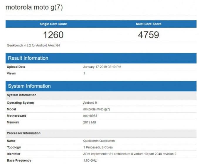 moto g7 play benchmark