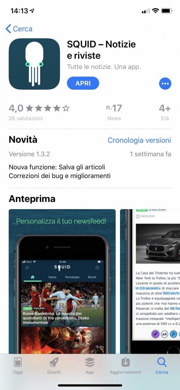 Squid si aggiorna su iOS: arriva la funzione articoli salvati | Evosmart.it