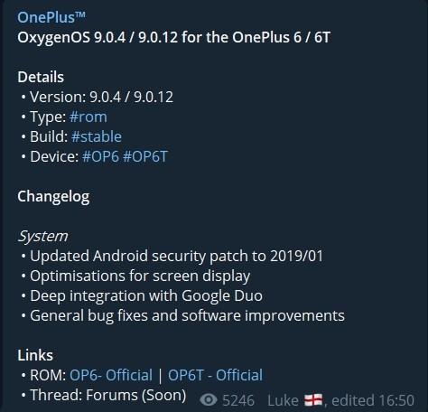 changelog oneplus update