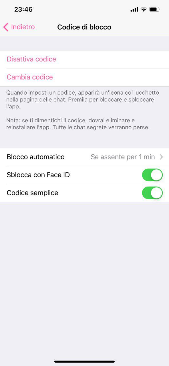 Autenticazione biometrica su Telegram per iOS | Evosmart.it