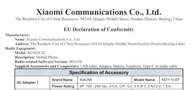 Mi 9 SE global certificato