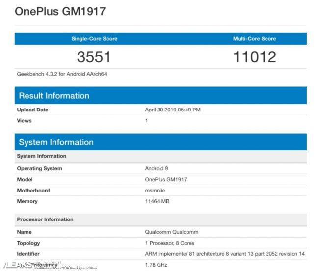 OnePlus 7 Pro: la variante con 12 GB di RAM si mostra su Geekbench