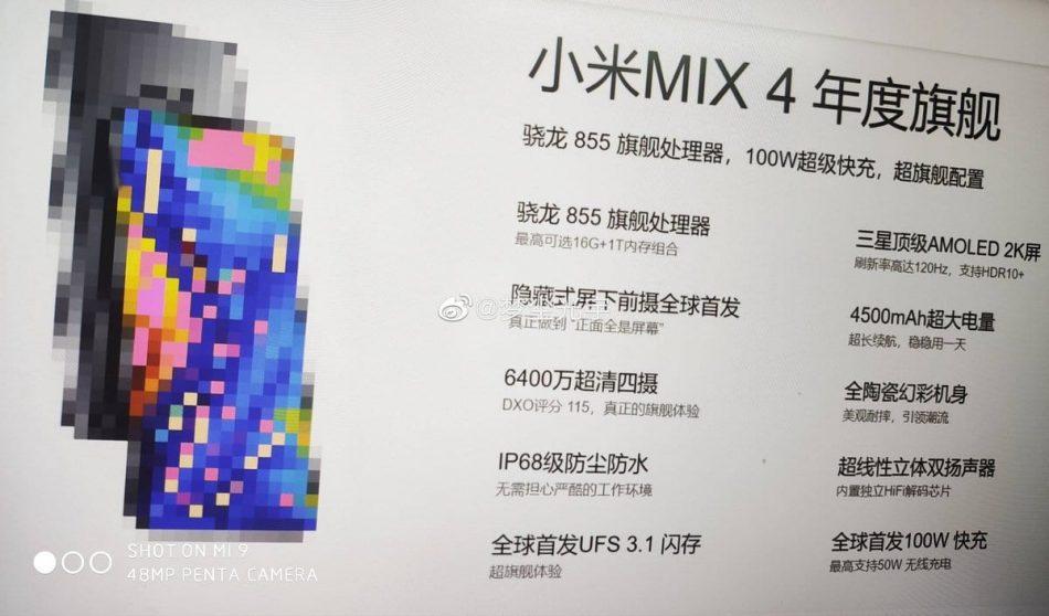 specifiche Xiaomi mi mix 4