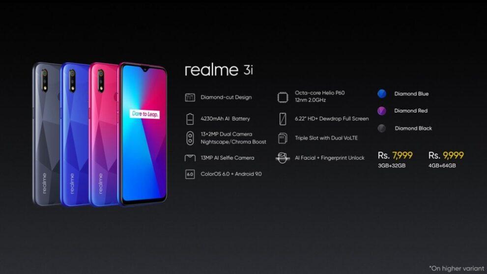 Realme 3i: caratteristiche e prezzi del nuovo base gamma