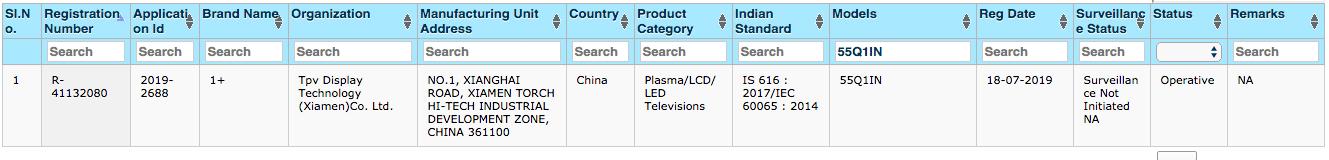 OnePlus TV certificazione