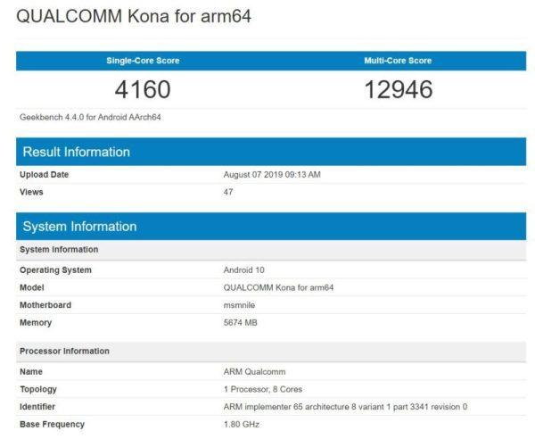 Qualcomm Snapdragon 865 bechmark