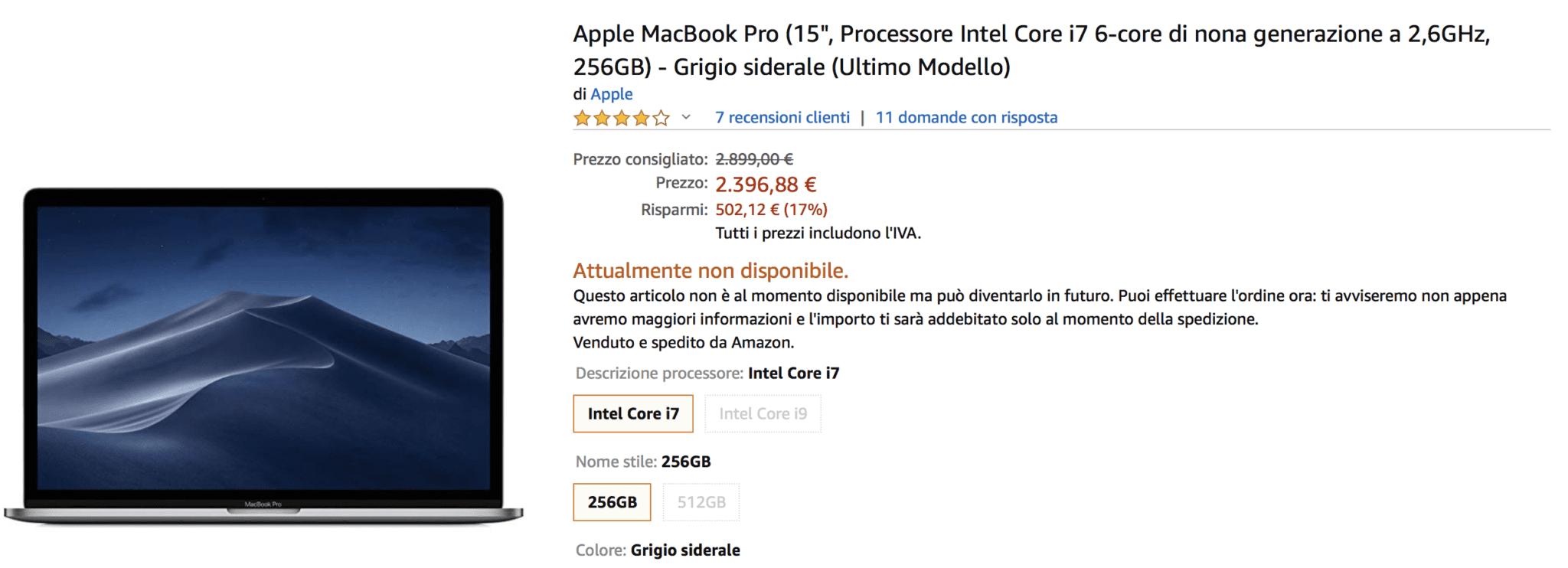 "Amazon sconta i MacBook Pro 15"" 2019 del 17%!"