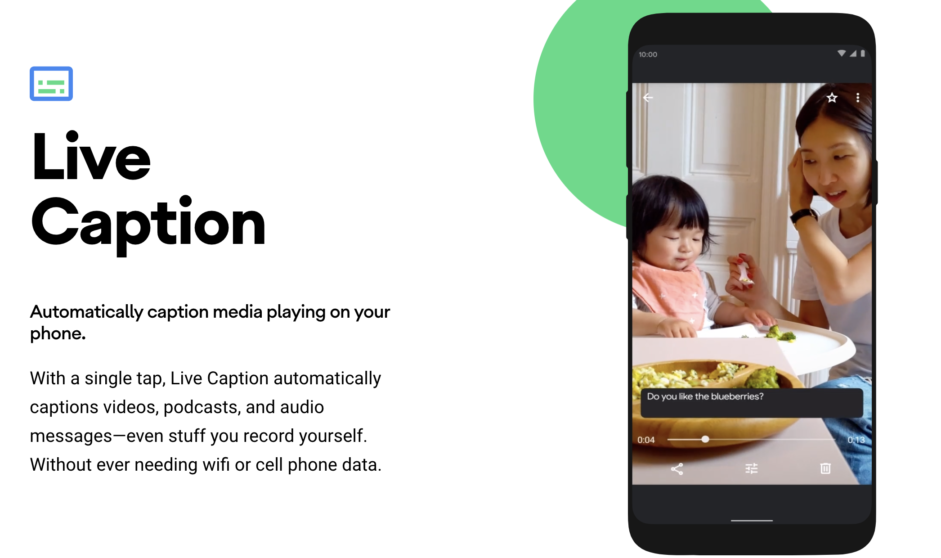 live caption android 10