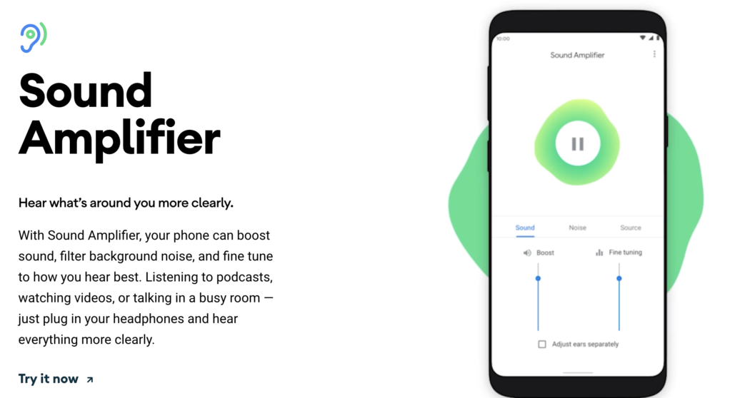 sound amplifier android 10