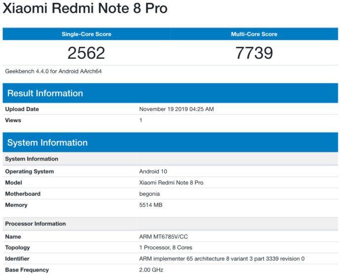 Redmi Note 8 Pro avvistato su Geekbench con Android 10