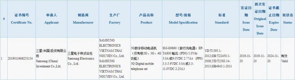 Samsung Galaxy S11 è stato certificato dall'ente 3C | Evosmart.it