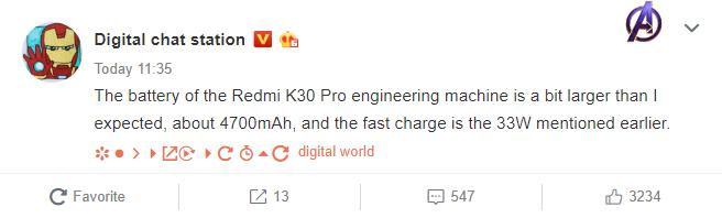 Redmi K30 Pro avrà una batteria più prestante