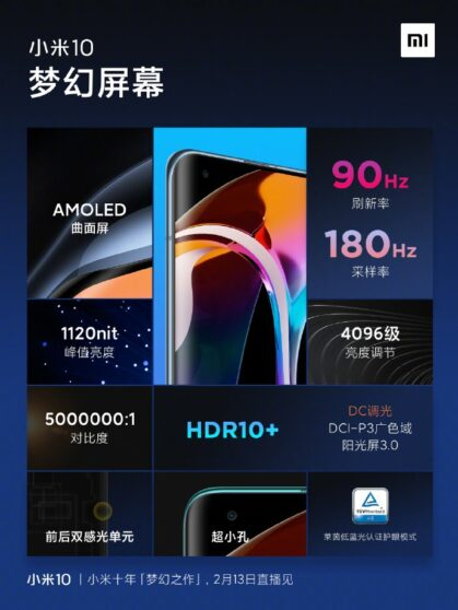 Xiaomi Mi 10: display da urlo e batteria da 4500 mAh