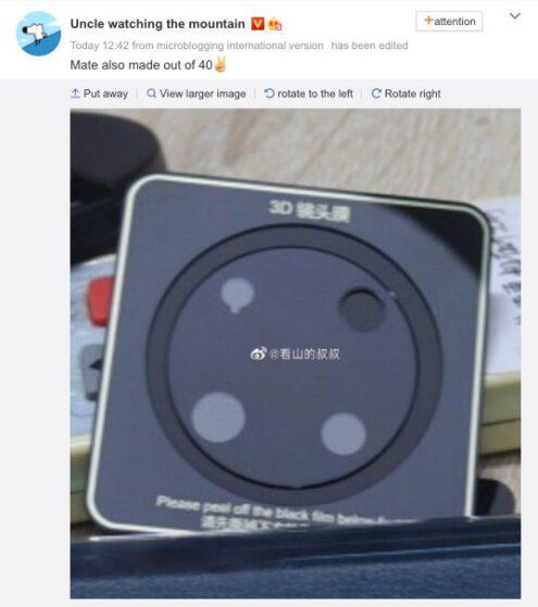 Huawei Mate 40 Pro: si diffonde in rete il design del modulo fotografico