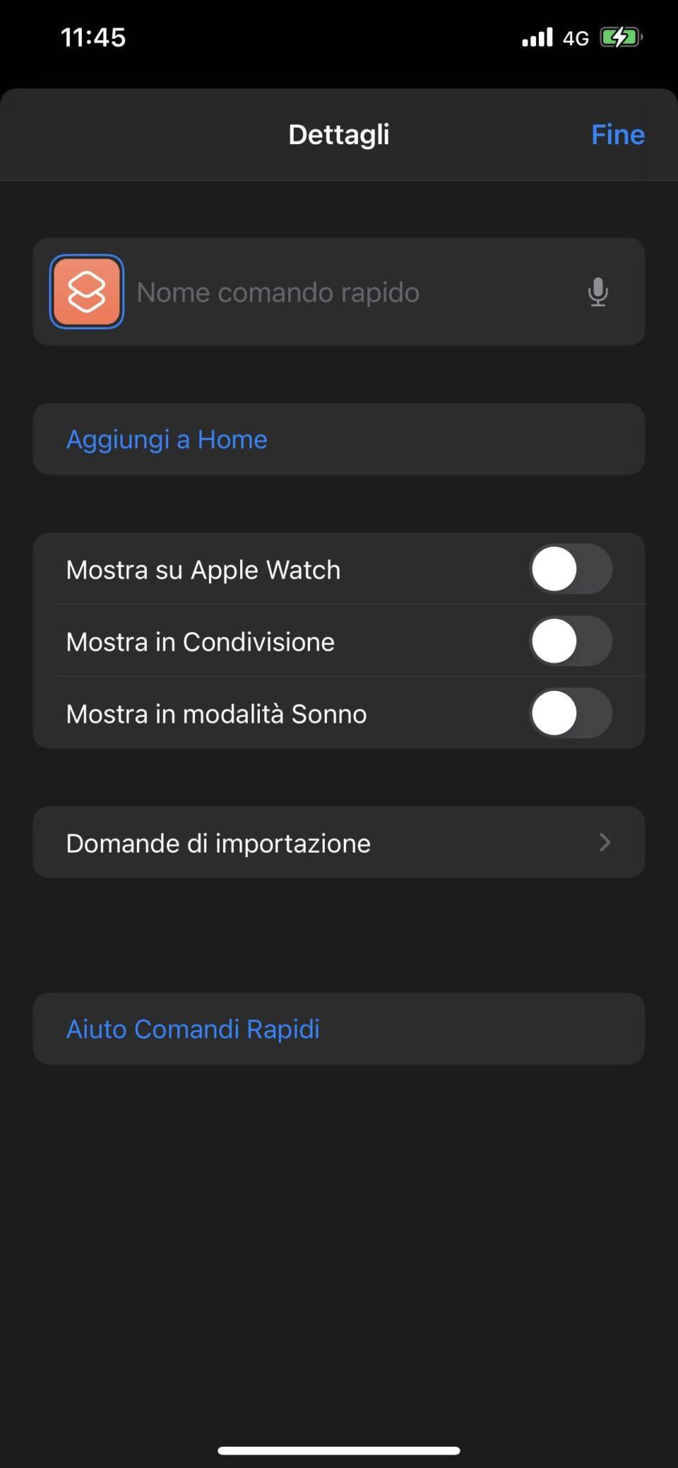 Applicazione Comandi per personalizzare le icone - parte 7