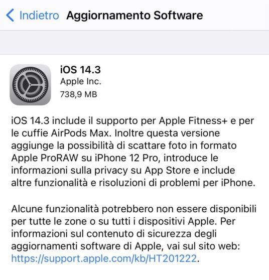 Apple rilascia iOS 14.3 con Apple ProRAW e supporto alle AirPods Max