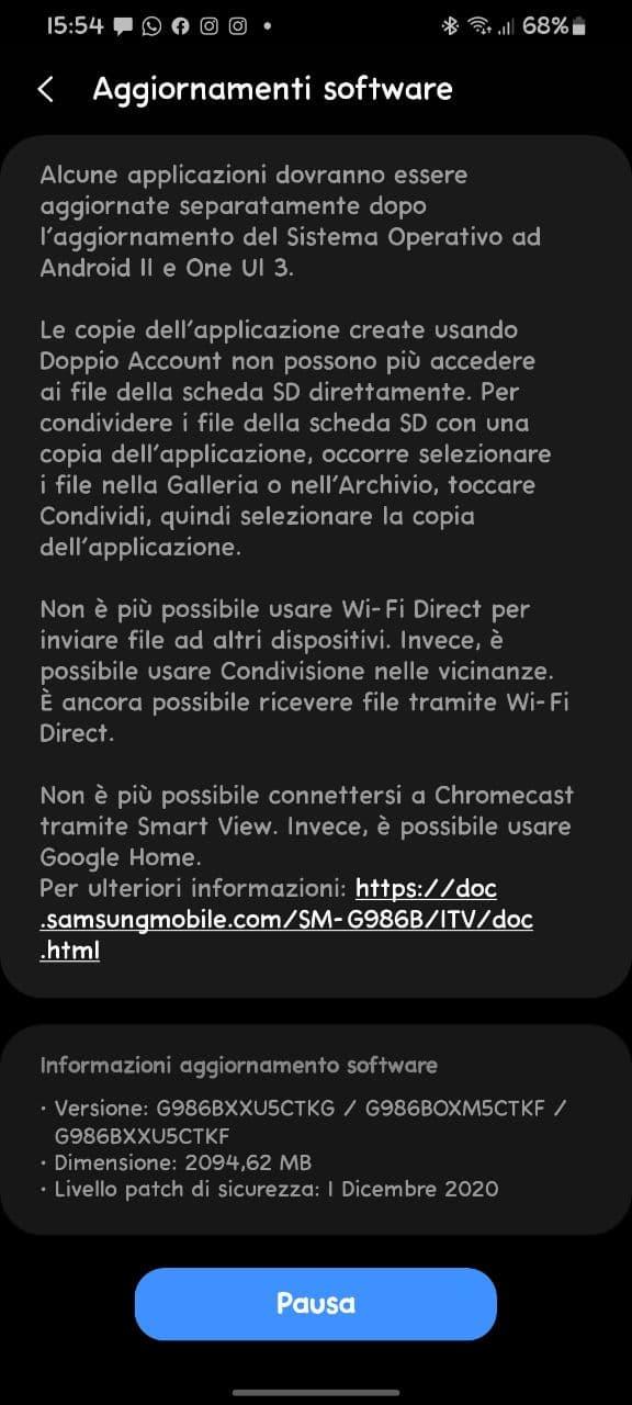 Android 11 e One UI 3.0: disponibile l'update per la serie Galaxy S20 | Evosmart.it