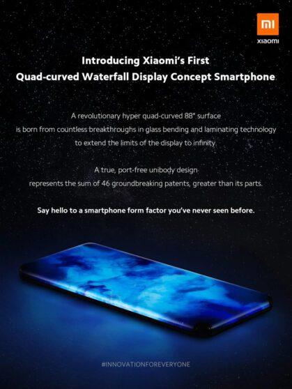 Xiaomi svela un concept phone con display curvo su tutti e 4 i lati