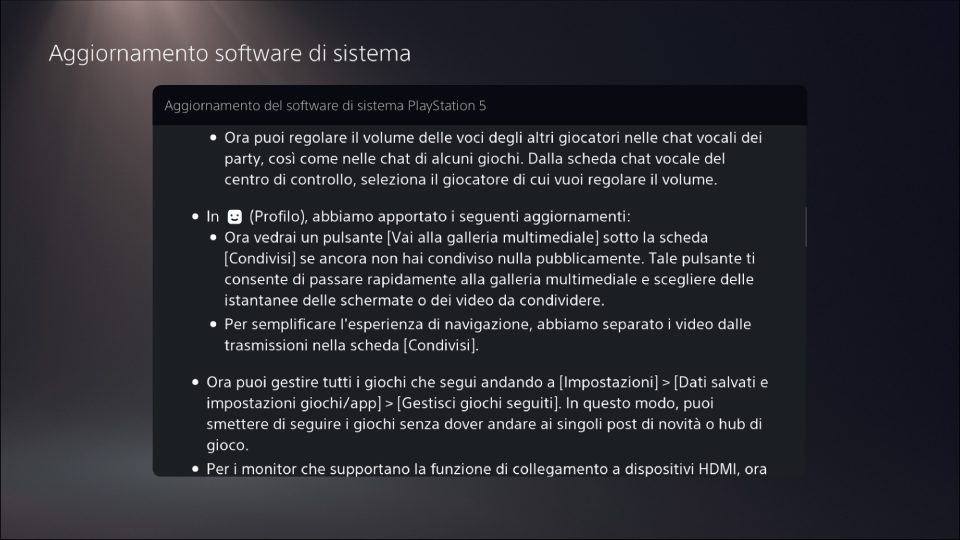 Changelog PlayStation 5 | Evosmart.it
