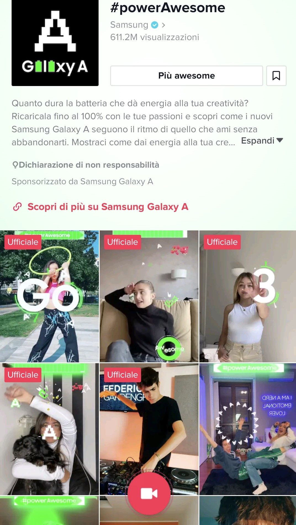 Samsung lancia #powerAwesome,  la Tik Tok challenge dedicata ai nuovi smartphone Galaxy A