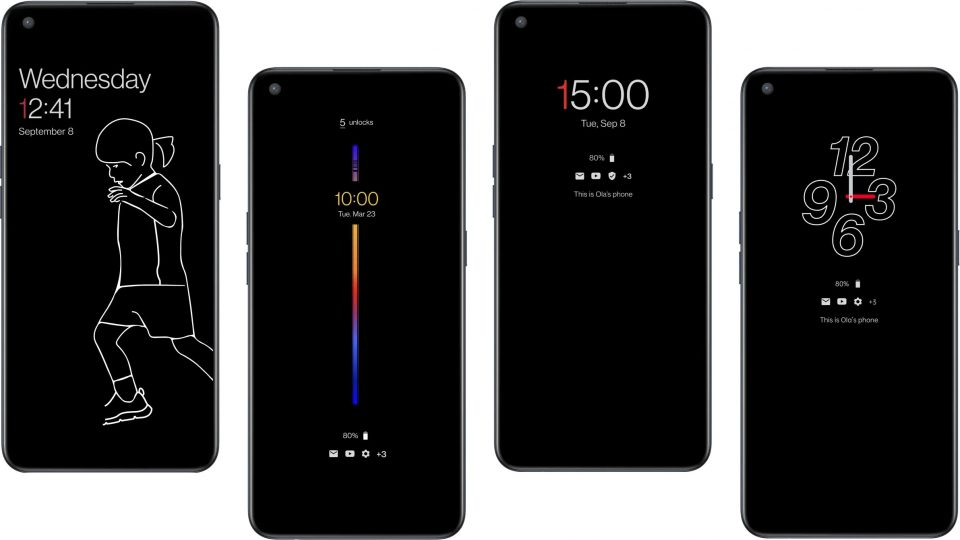 Alcune delle personalizzazioni per l'always on di OnePlus Nord CE | Evosmart.it