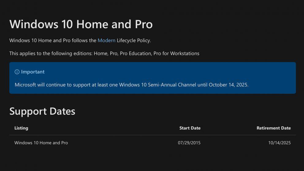 Windows 10: Microsoft ne annuncia la fine del supporto nel 2025