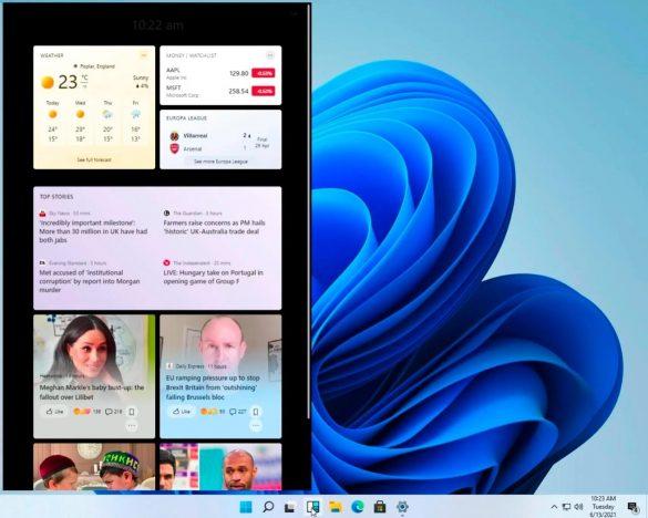 La schermata per la selezione dei widget | Evosmart.it